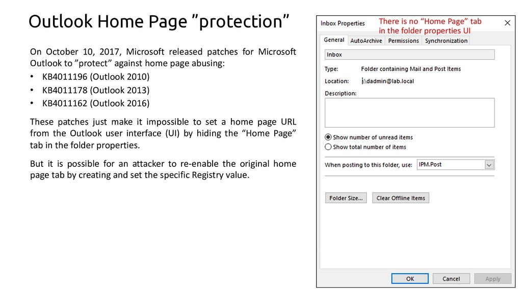 """63 Outlook Home Page """"protection"""" On October 10..."""