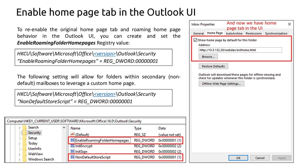 64 Enable home page tab in the Outlook UI To re...