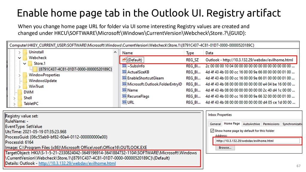 67 Enable home page tab in the Outlook UI. Regi...