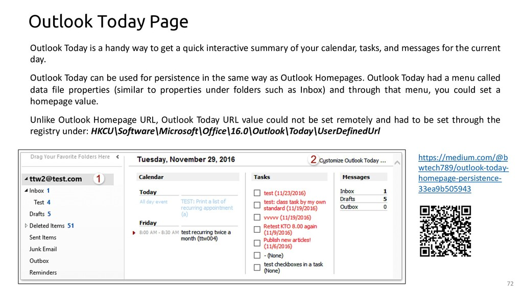 72 Outlook Today Page Outlook Today is a handy ...