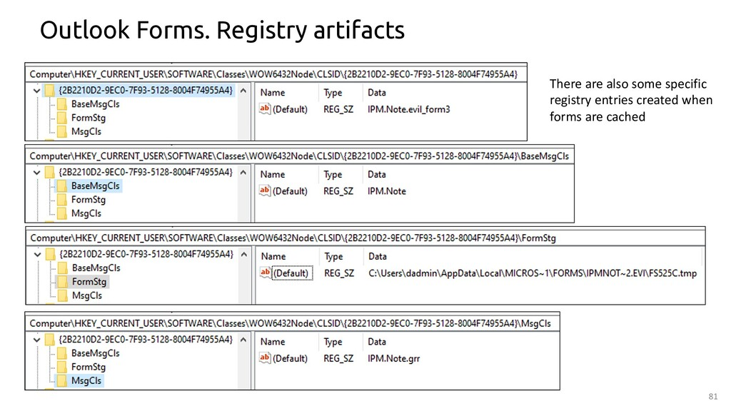 81 Outlook Forms. Registry artifacts There are ...