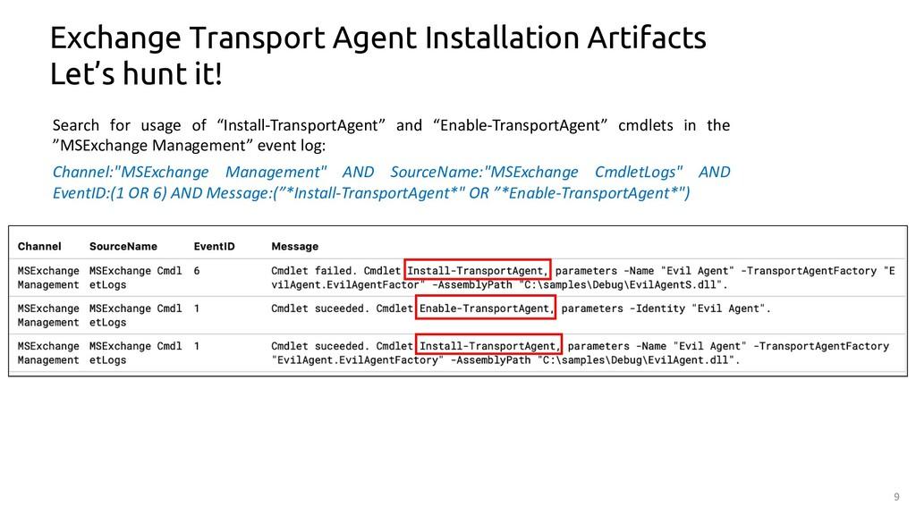 9 Exchange Transport Agent Installation Artifac...