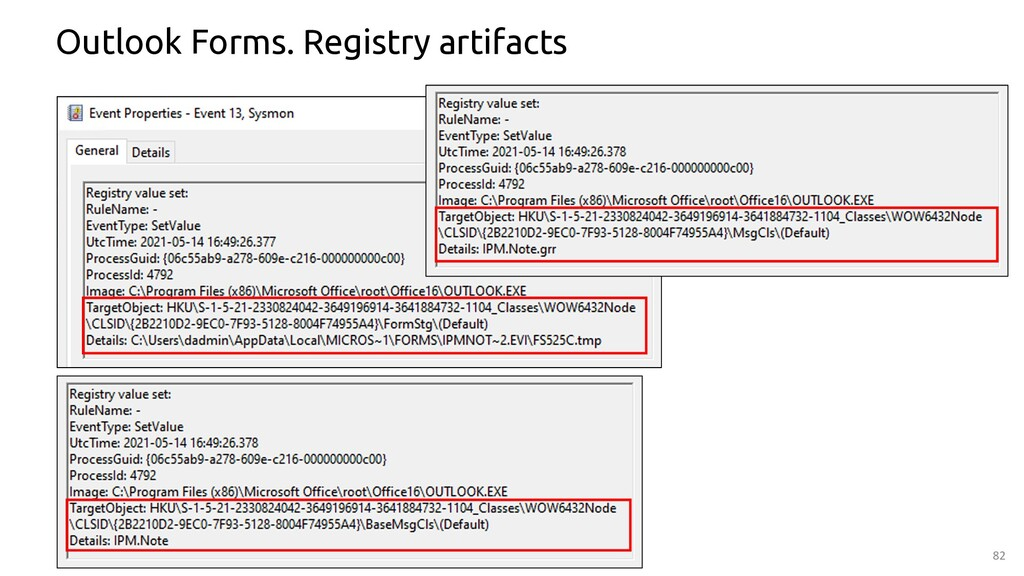 82 Outlook Forms. Registry artifacts