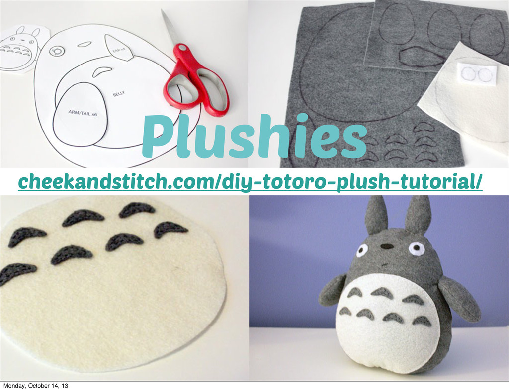 Plushies cheekandstitch.com/diy-totoro-plush-tu...