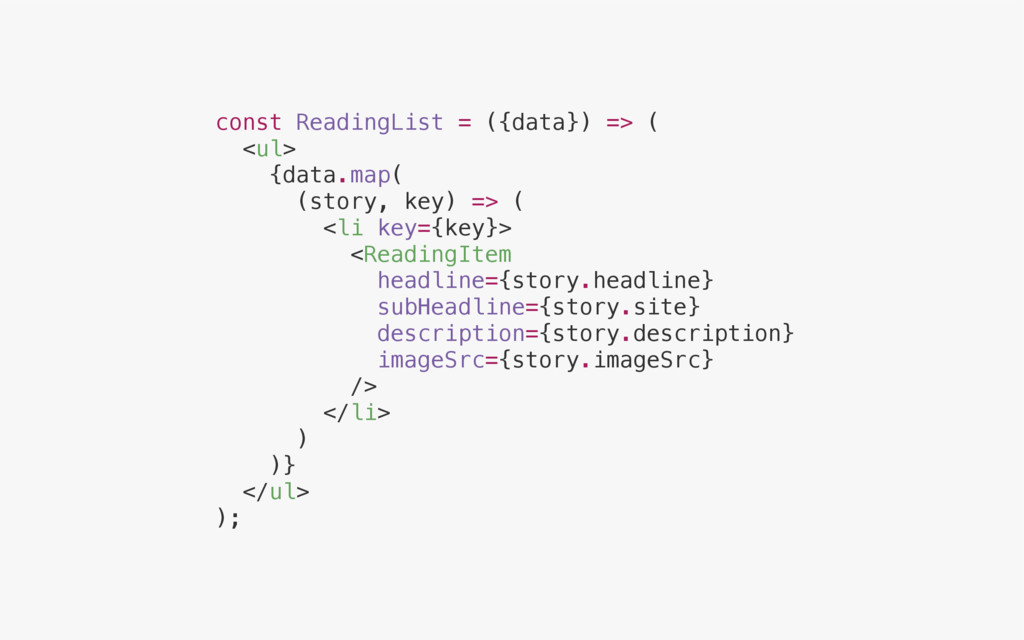 const ReadingList = ({data}) => ( <ul> {data.ma...