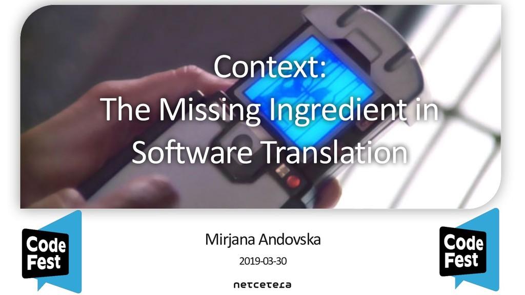 Mirjana Andovska 2019-03-30 Context: The Missi...