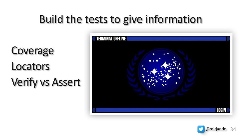 Coverage Locators Verify vs Assert Build the te...