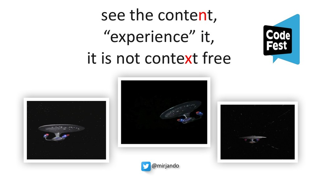 """see the content, """"experience"""" it, it is not con..."""