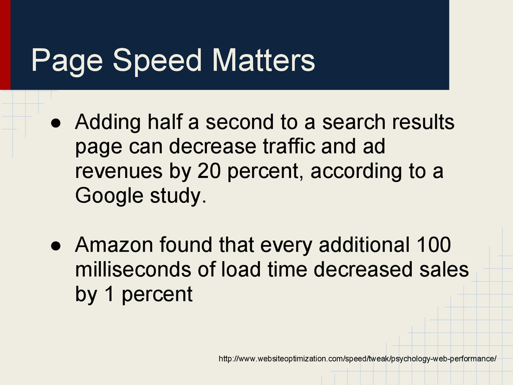 Page Speed Matters ● Adding half a second to a ...
