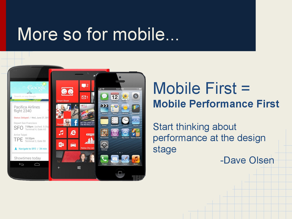 More so for mobile... Mobile First = Mobile Per...