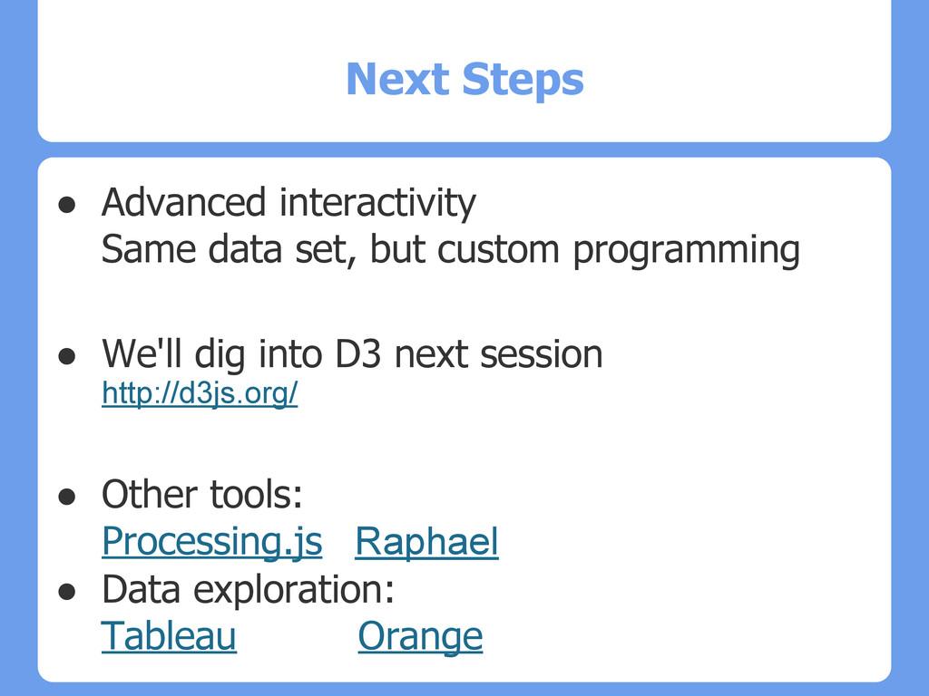 Next Steps ● Advanced interactivity Same data s...
