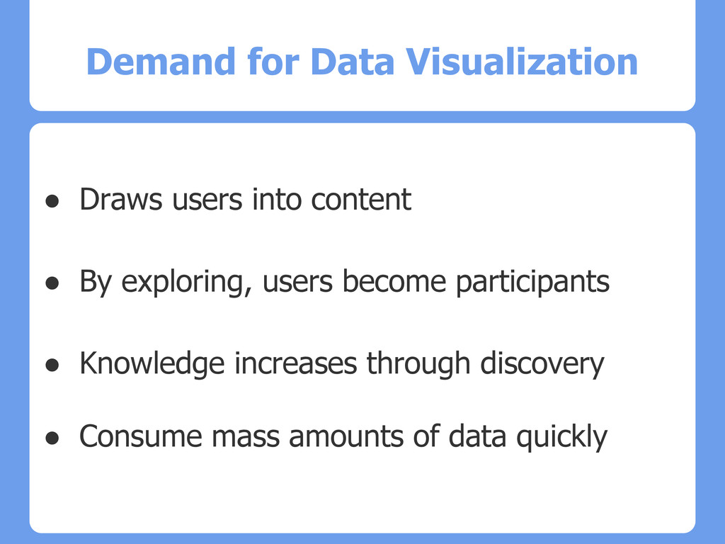 Demand for Data Visualization ● Draws users int...