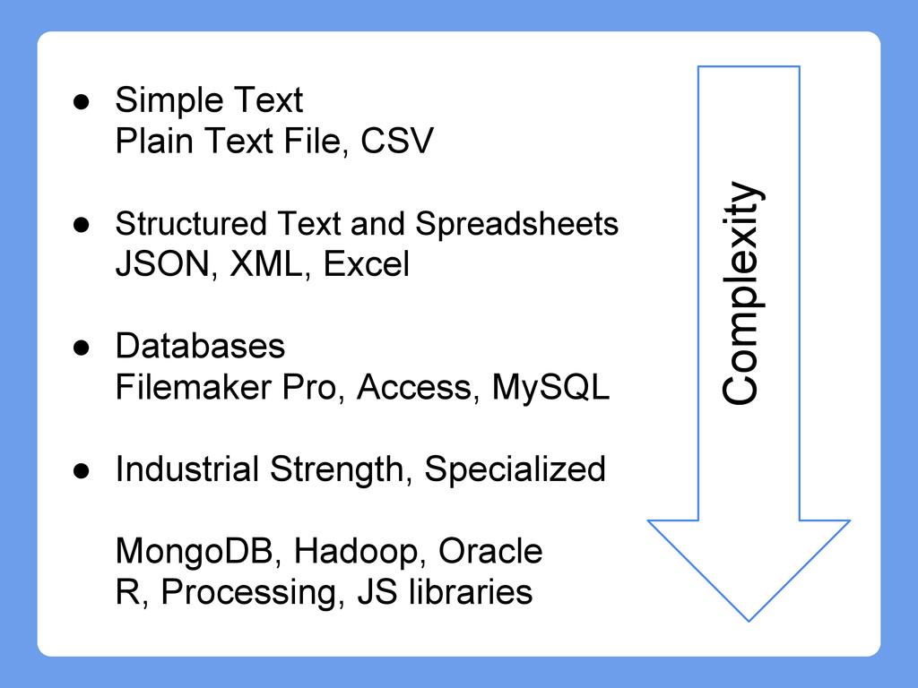 Complexity ● Simple Text Plain Text File, CSV ●...