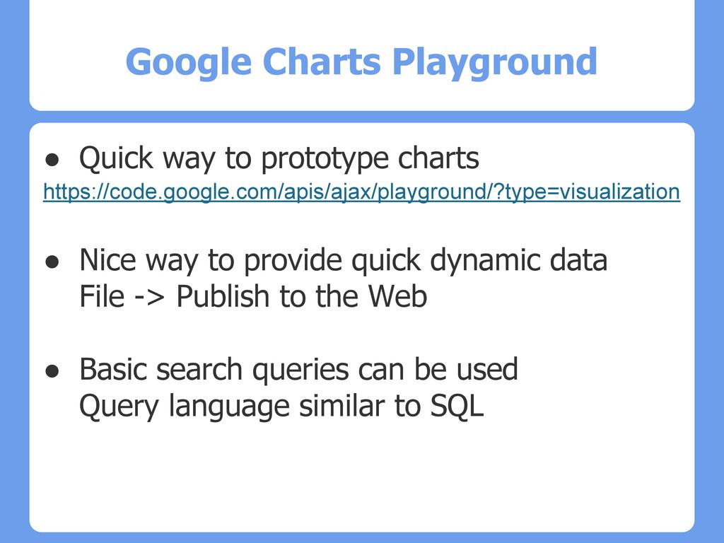 Google Charts Playground ● Quick way to prototy...