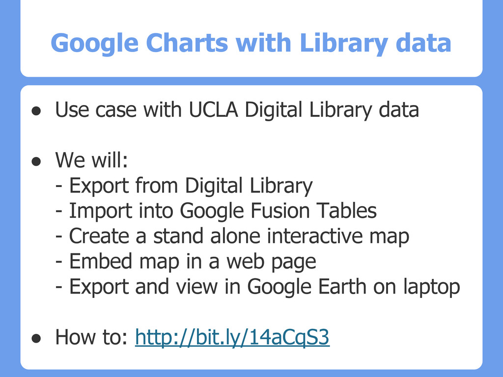 Google Charts with Library data ● Use case with...