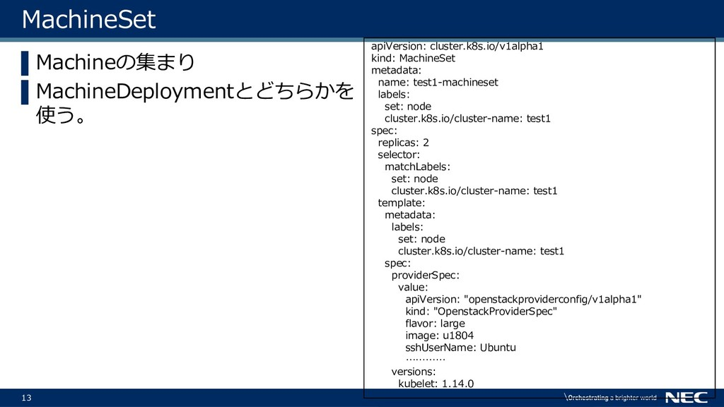 13 MachineSet ▌Machineの集まり ▌MachineDeploymentとど...