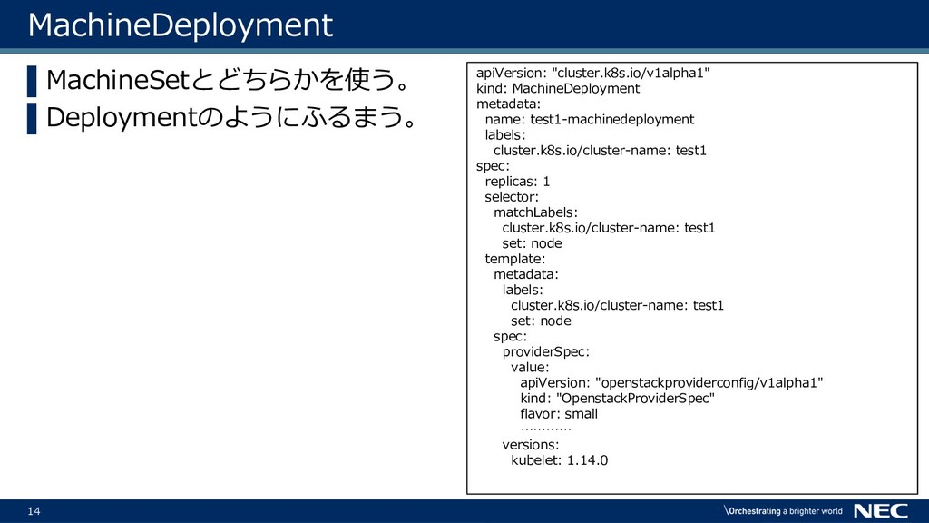 14 MachineDeployment ▌MachineSetとどちらかを使う。 ▌Depl...