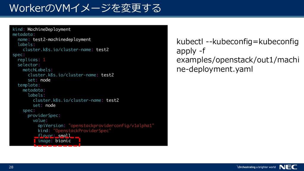 28 WorkerのVMイメージを変更する kubectl --kubeconfig=kube...