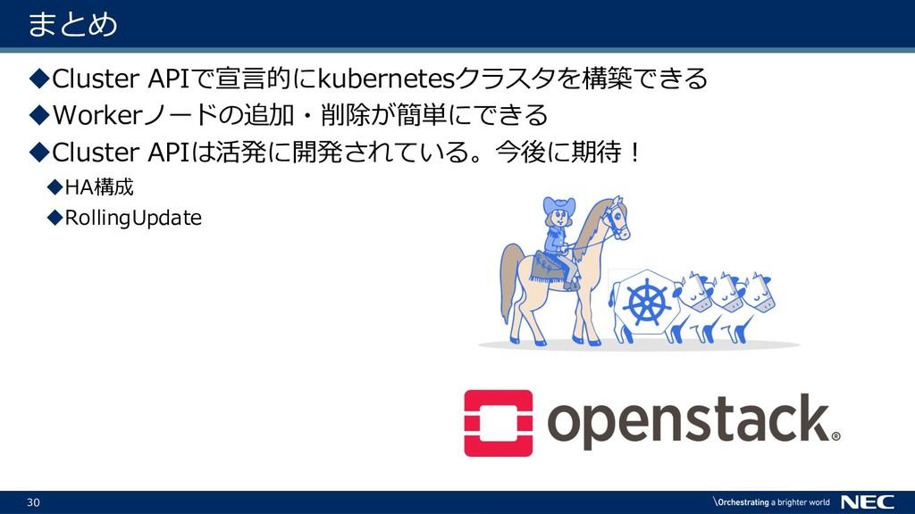 30 まとめ uCluster APIで宣⾔的にkubernetesクラスタを構築できる uW...