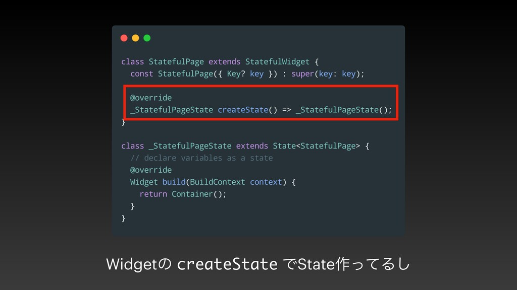 Widgetͷ createState ͰState࡞ͬͯΔ͠