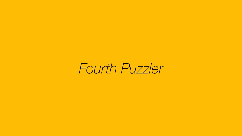 Fourth Puzzler
