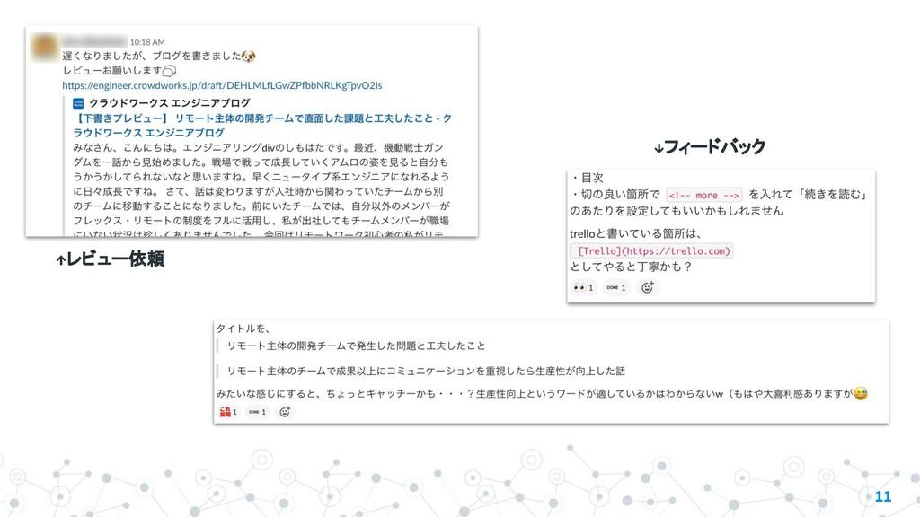 11 ↑レビュー依頼 ↓フィードバック