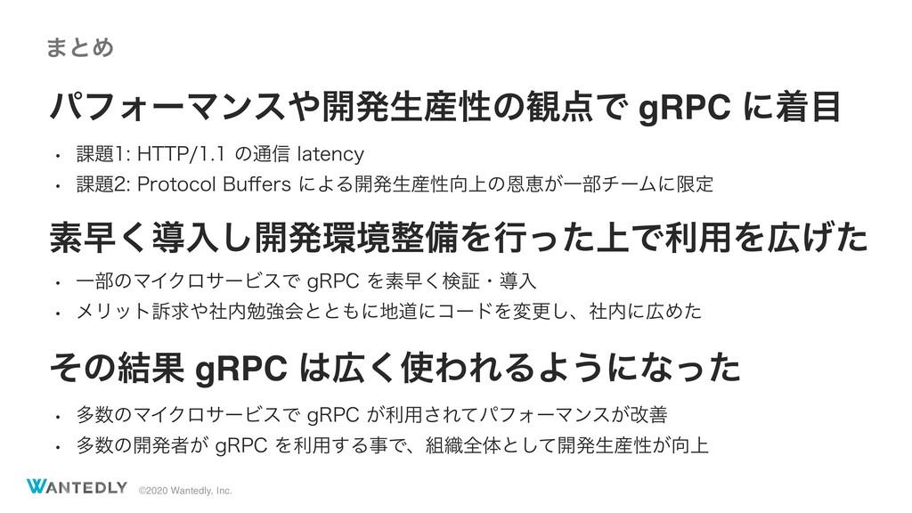 ©2020 Wantedly, Inc. ύϑΥʔϚϯε։ൃੜੑͷ؍Ͱ gRPC ʹண...