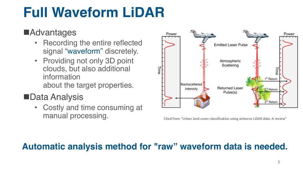 Full Waveform LiDAR nAdvantages • Recording the...