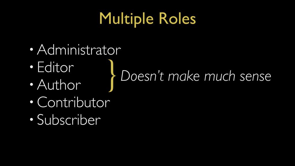 • Administrator • Editor • Author • Contributor...
