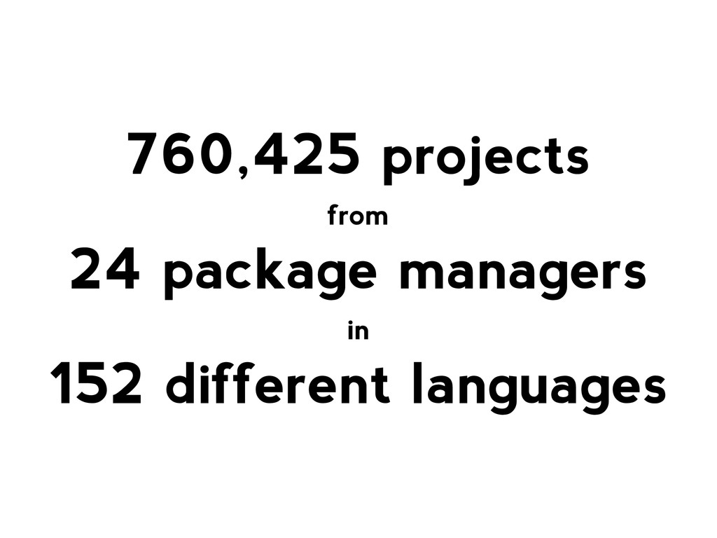 760,425 projects from 24 package managers in 15...