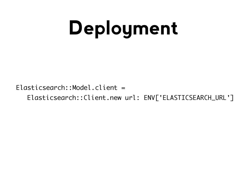 Deployment Elasticsearch::Model.client = Elasti...