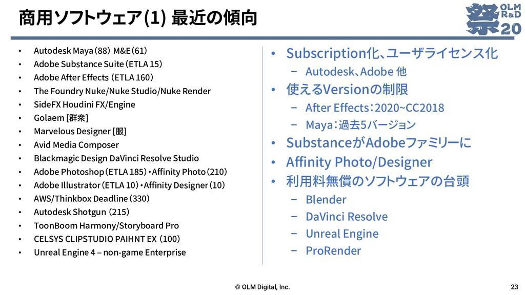 商用ソフトウェア(1) 最近の傾向 • Autodesk Maya(88) M&E(61) •...