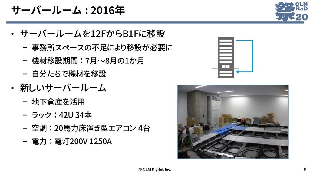 サーバールーム : 2016年 • サーバールームを12FからB1Fに移設 – 事務所スペース...