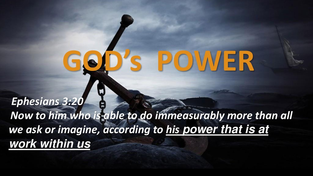 GOD's POWER Ephesians 3:20 Now to him who is ab...