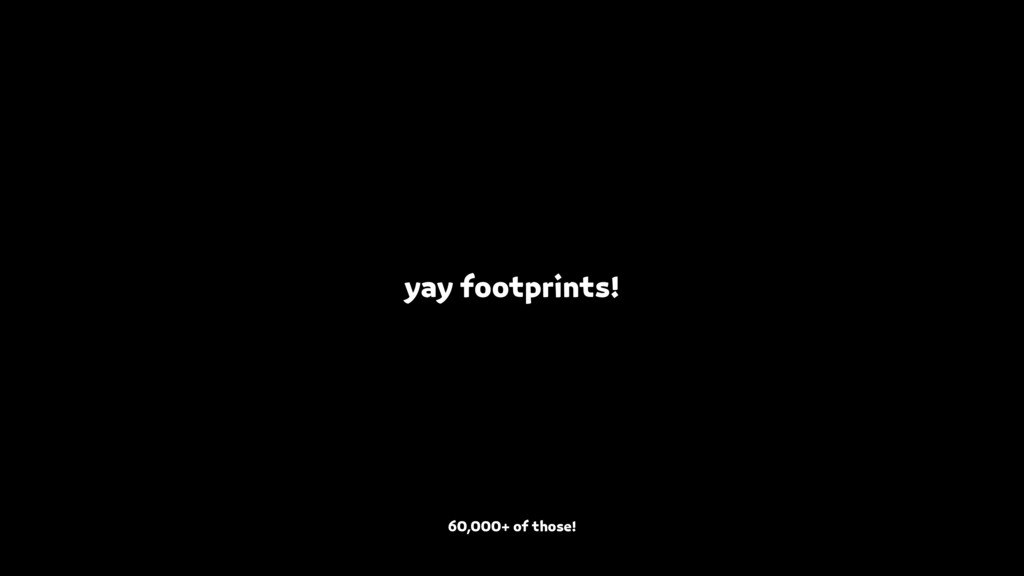 yay footprints! 60,000+ of those!