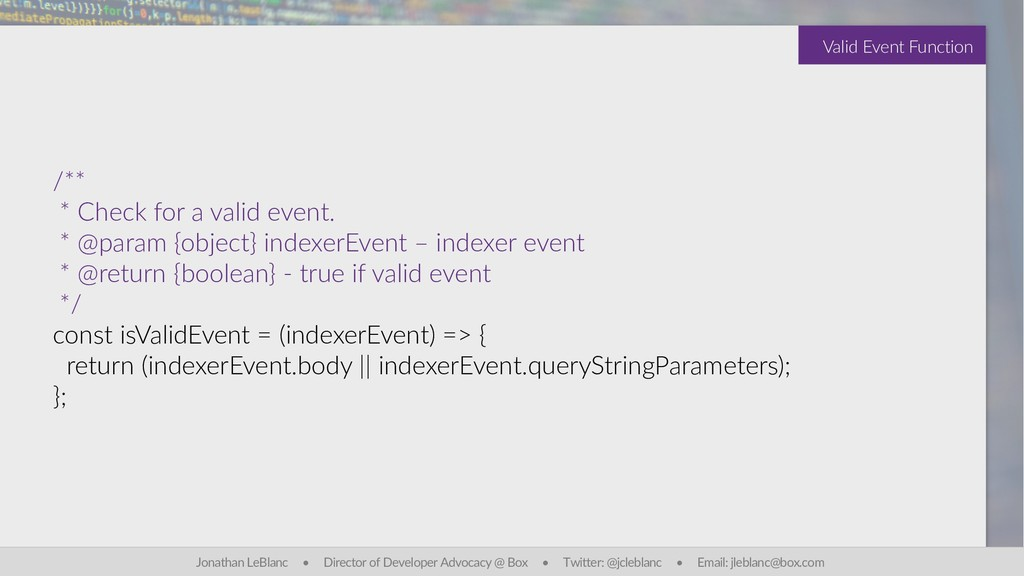 /** * Check for a valid event. * @param {object...