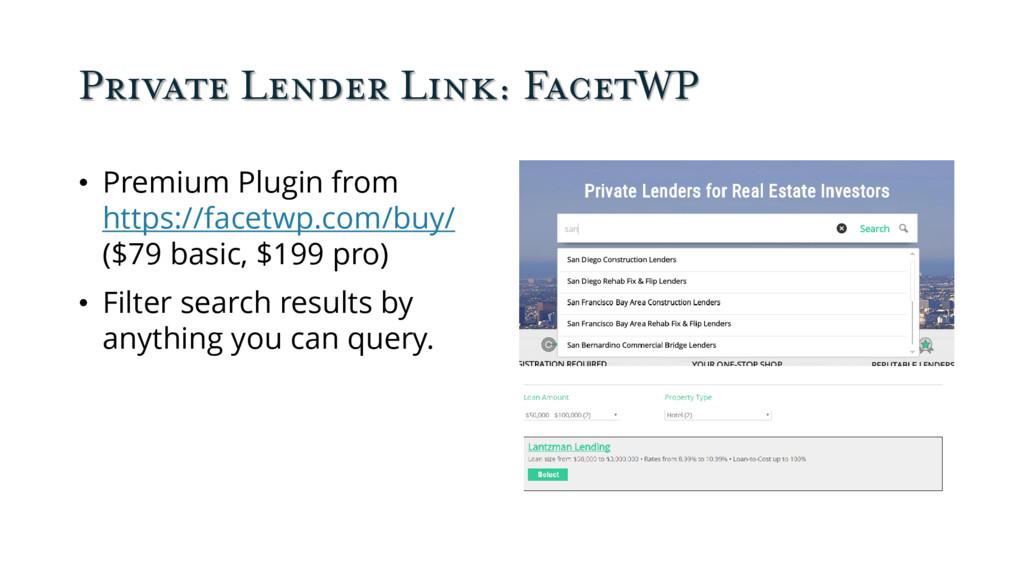 Private Lender Link: FacetWP • Premium Plugin f...
