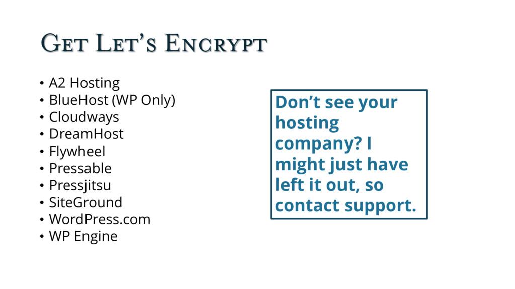 Get Let's Encrypt • A2 Hosting • BlueHost (WP O...