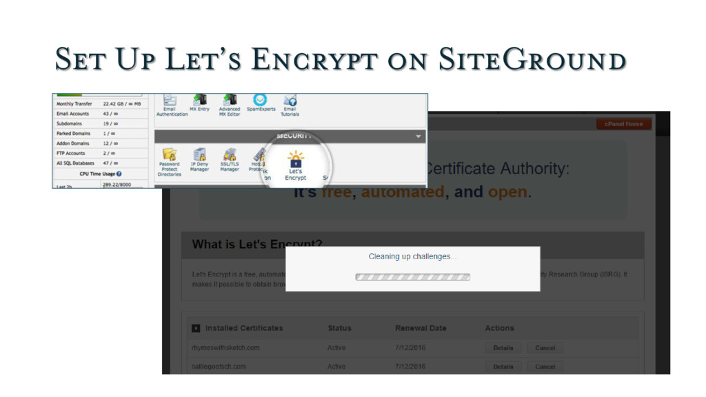 Set Up Let's Encrypt on SiteGround