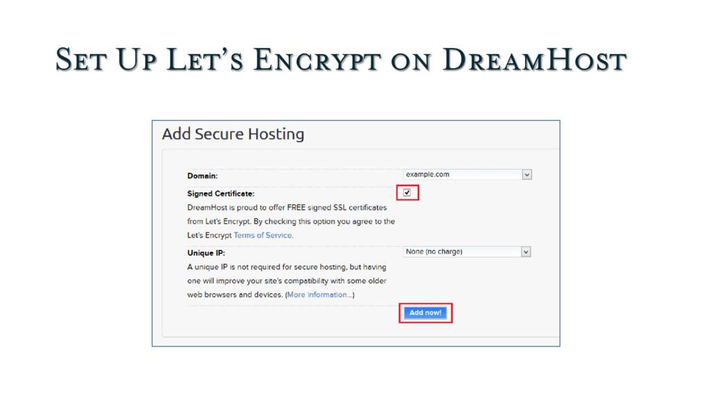 Set Up Let's Encrypt on DreamHost