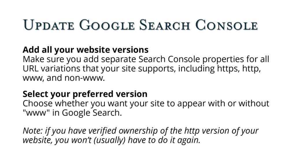 Update Google Search Console Add all your websi...