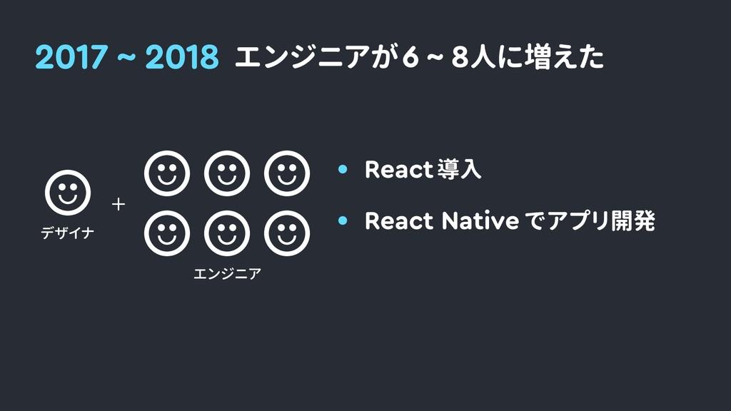 2017 ~ 2018 エンジニアが 6 ~ 8人に増えた エンジニア React Nativ...