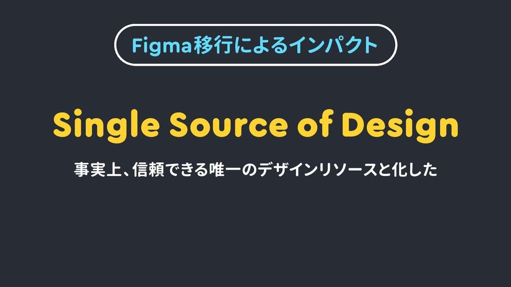 Figma移行によるインパクト Single Source of Design 事実上、 信頼...