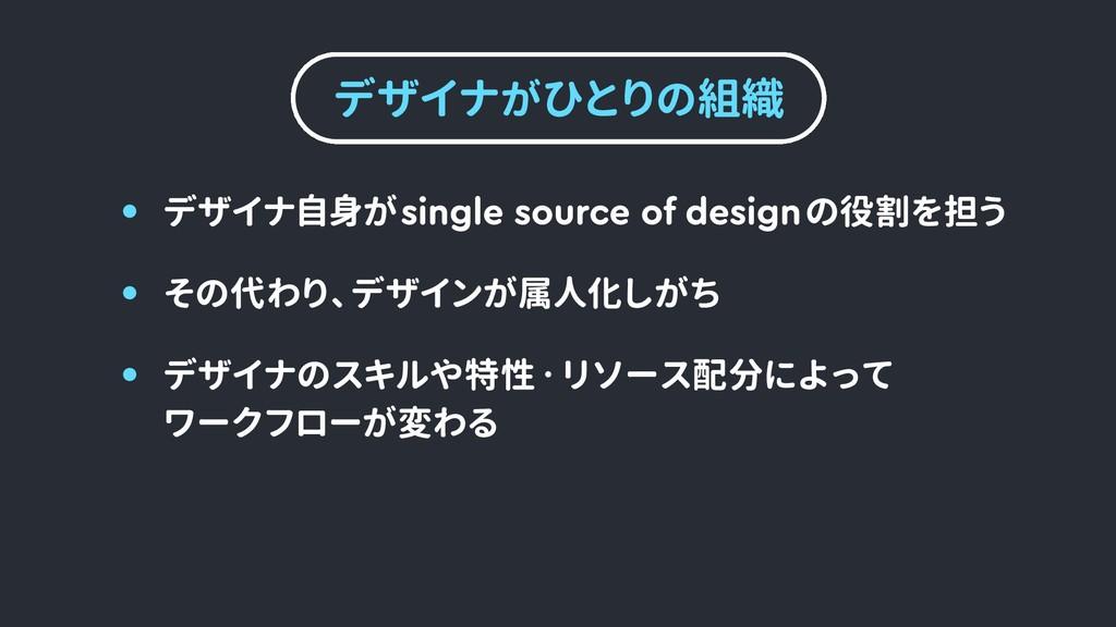 デザイナがひとりの組織 デザイナのスキルや特性・リソース配分によって  ワークフローが変わる ...