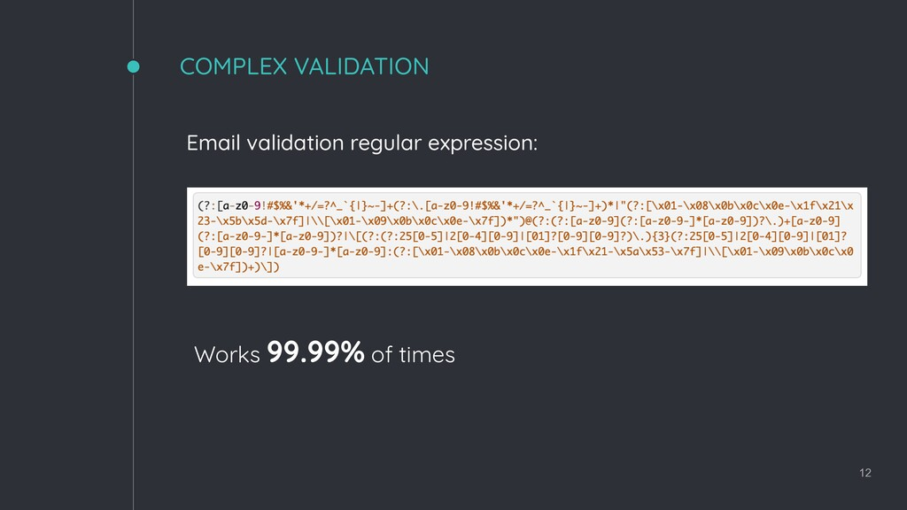 COMPLEX VALIDATION 12 Email validation regular ...