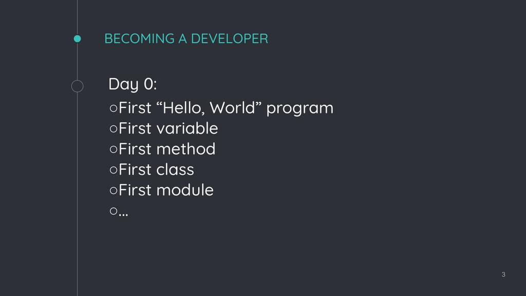 "BECOMING A DEVELOPER Day 0: ◦First ""Hello, Worl..."