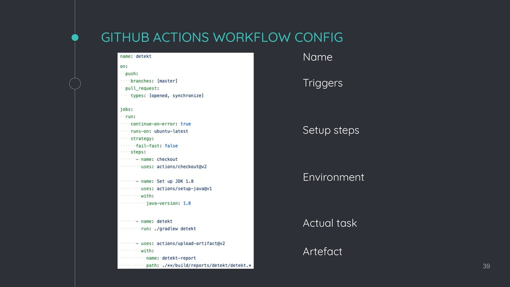 GITHUB ACTIONS WORKFLOW CONFIG 39 Name Triggers...