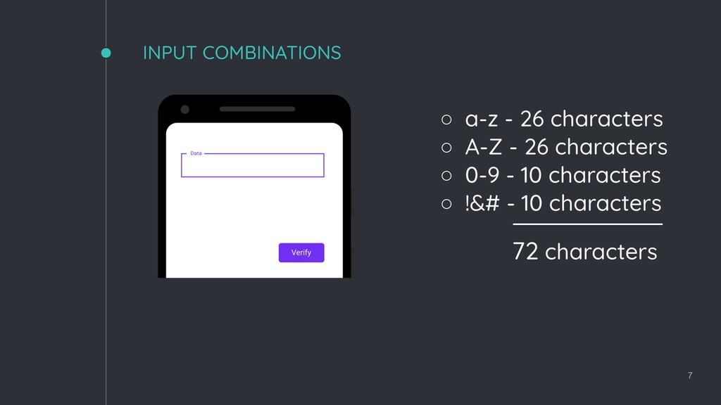 INPUT COMBINATIONS 7 72 characters ◦ a-z - 26 c...