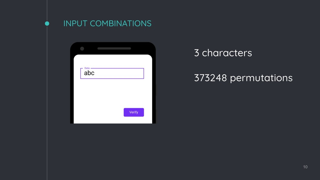 INPUT COMBINATIONS 10 3 characters 373248 permu...